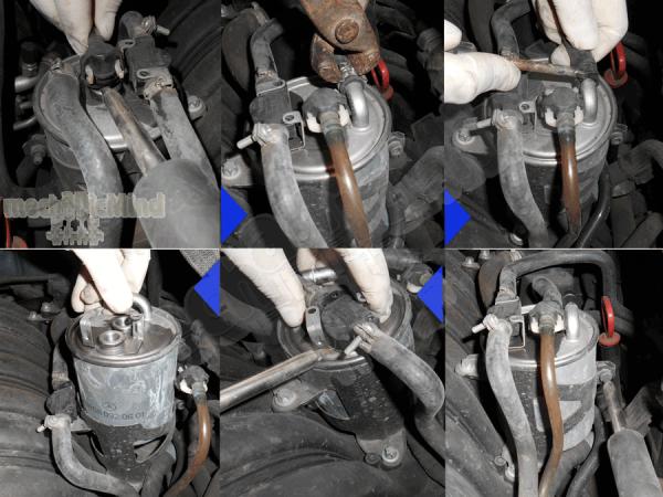 Figura 4: Alcune delle fasi per la rimozione del filtro gasolio