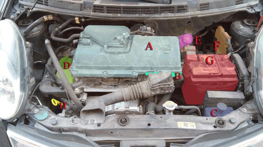Nissan micra k12 descrizione vano motore for Filtro aria cabina 2016 nissan murano