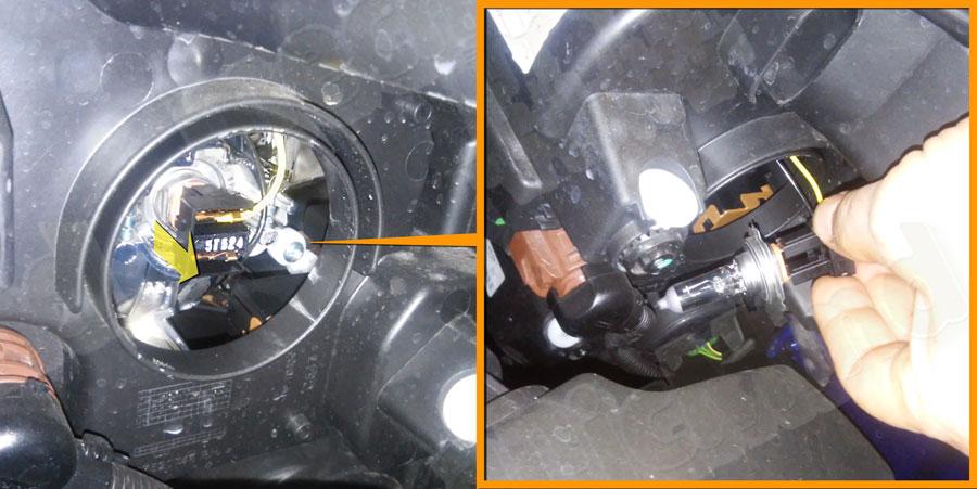 Figura 3: Rimuoviamo la lampadina dalla sede tirando il connettore verso l'esterno