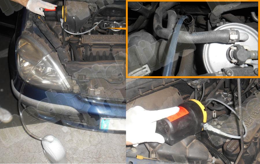 Figura 5: Inseriamo il tubo fino al posto della stecca dell'olio fino a toccare il fondo. Mentre il tubo largo inseriamolo nel contenitore da 5 litri.