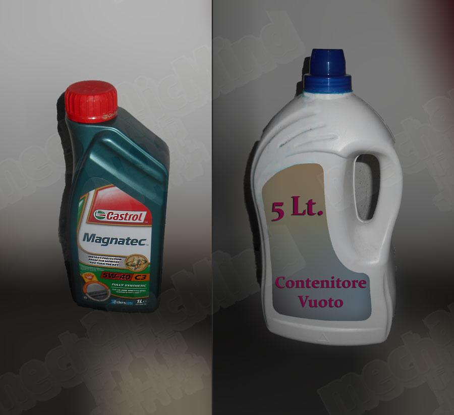 Figura 2: Muniamoci di 5 Litri di Olio Sintetico 5W-40 e di un contenitore per l'olio esausto