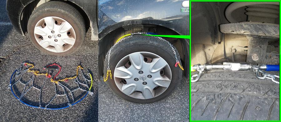 Figura 2: Posizioniamo la catena al di sotto della ruota e poi agganciamone le estremità come mostrato nel dettaglio in verde