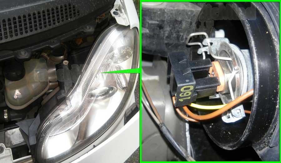 Figura 2: E' indicato il faro su cui andremo a sostituire la lampadina