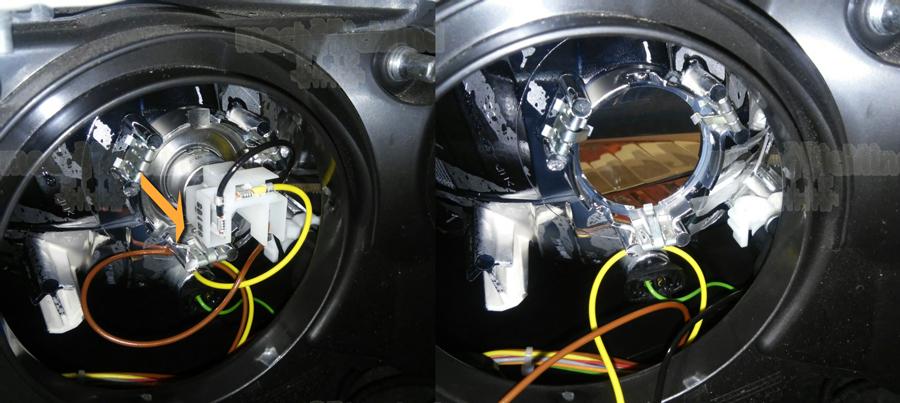 Figura 2: Sfiliamo la lampadina h4 tirandola verso l'esterno